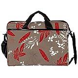 Mochila unisex para ordenador o tableta, ligera para portátil, bolsa de viaje de lona, 13.4-14.5 pulgadas, con hebillas, hojas de otoño, hierba, rojo,