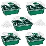 5-Pack Seed Trays Seedling Starter Tray,Humidity Adjustable Plant Starter Kit with Dome and Base Greenhouse Grow Trays Mini Propagator for Seeds Growing Starting (12 Cells per Tray) - Green