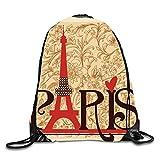 uykjuykj Bolsos De Gimnasio,Mochilas,Drawstring Backpack Paris Flower9 Lightweight Unique 17x14 IN