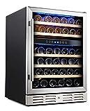 Kalamera 24'' Wine Cooler Refrigerator 46 Bottle Dual Zone Built-in or Freestanding Fridge with...