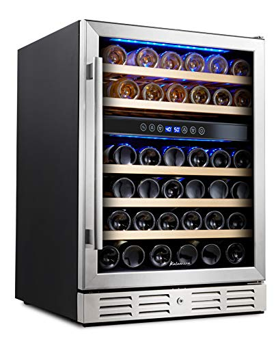 Kalamera 24'' Wine refrigerator 46 Bottle Dual Zone Built-in or Freestanding Fridge with Stainless Steel & Triple-Layer Tempered Reversible Glass Door and Temperature Memory Function Wine Cooler