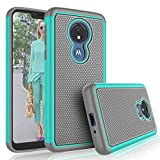 Moto G7 Power Case,Motorola Moto G7 Supra / G7 Optimo Maxx Cute Case, Tekcoo [Tmajor] Shock Absorbing [Turquoise] Rubber & Plastic Scratch Resistant Bumper Grip Rugged Sturdy Hard Phone Cases Cover