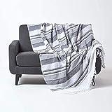 HOMESCAPES Jeté de lit/Jeté de canapé Gris et Blanc à Rayures de 230 x...