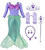 HenzWorld Little Girls Dresses Mermaid Costume Princess Dress Up Role Pretend Cosplay Party Outfits Jewelry Accessories Sequins Fish Scale Tails 3/4 Sleeve Outfits Kids Children Age 5-6 Years