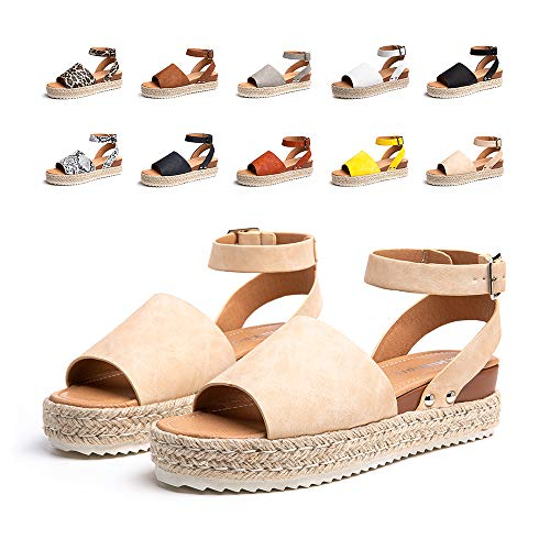 Sandalias Mujer Verano Plataforma Alpargatas Esparto Cuña Zapato Punta Abierta HebillaComodas Caqui Talla 39 EU