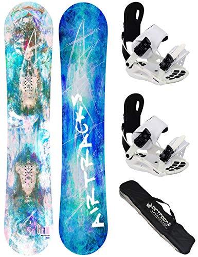 Airtracks Set de snowboard pour femme - Board Glam 144 - Fixation souple Master W M - SB Bag