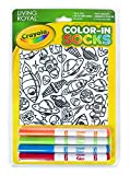 Kid's Crayola Color-in Socks - Includes 1 Pair of Socks and 4 Fabric Markers by Living Royal (Out of Orbit)
