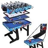 hj Table Multi Jeux 5 en 1 Pliante-Billard/Babyfoot/Hockey/Tennis de Table/Basketball 103.4 * 57.5 * 72cm Pliable