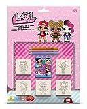 Multiprint Blister 5 Timbres Enfants Lol Surprise, 100% Made in Italy, Tampons Enfants Personnalisés, en Bois et Caoutchouc Naturel, Encre Lavable Non Toxique, Idée Cadeau, Art.05980
