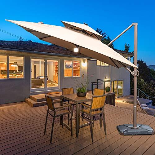 Abba Patio 9 x 12 ft Patio Offset Hanging Umbrella with Solar Lights Double Top Rectangular Cantilever Umbrella with Easy Tilt & Cross Base for Garden, Deck, Backyard and Pool, Cocoa