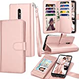 LG Stylo 5 Case, 2019 LG Stylo 5 Wallet Case, Tekcoo Luxury ID Cash Credit Card Slots Holder PU Leather Carrying Folio Flip Cover Cases [Detachable Magnetic Hard Case] Kickstand Strap [Rose Gold]