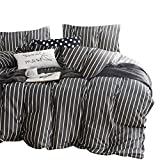 Wake In Cloud - Gray Striped Comforter Set, 100% Cotton Fabric with Soft Microfiber Fill Bedding, White Vertical Stripes Pattern Printed on Dark Grey (3pcs, Twin Size)