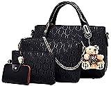 Conjunto de bolsa de cuero de PU de 4 piezas con asa superior para mujer (bolsa grande, bolso,...