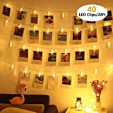 VENNKE 40 LED Photo Clips String Lights, Battery & USB Powered Design with Free Cable, Fairy Twinkle Wedding Party Christmas Home Decor Lights for Hanging Photos Pictures Cards Artwork(20 Ft)
