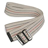 Sammons Preston Gait Belt with Metal Buckle, 2' Wide, 100'L, Heavy Duty Gait Transfer Belt, Patient Transfer, Essential Walking & Transport Assistant for Elderly, Disabled, & Patients, Neutral Stripe