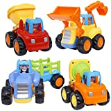 Friction Powered Cars - Push and Go Toys Car Construction Vehicles Toys for Age 18 Month 2 3 4 5 Year Old Girls Boys Age Toddler Gift Set of 4 Tractor, Cement Mixer, Bulldozer & Dump Truck