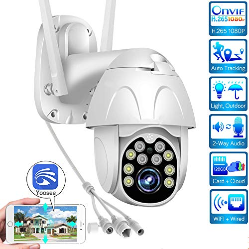 Telecamera dome IP PTZ, Telecamera di sorveglianza WiFi, Telecamera HD 1080P per esterni, IR/Visione notturna/IP65 Impermeabile/Sport/Telecamera di sicurezza, Yoosee, Per esterni/Garage/Azienda