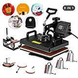Heat Press- Nurxiovo 8 in 1 Swing Away Digital Heat Press Machine, 12x15 inches Vinyl Transfer, Multipurpose Combo Kit Sublimation Hot Pressing Machine for T Shirts, Mug, Hat, Plate, Cap