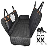 OKMEE 4-in-1 Dog Car Seat Cover, Convertible Dog Hammock Scratchproof Nonslip Pet Seat Cover with Mesh Window Side Flaps for Back Seat Protection, Durable Dog Seat Cover for Cars Trucks SUVs