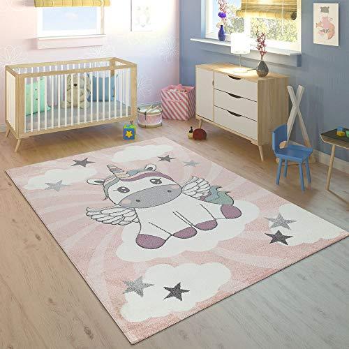 Paco Home Tappeto per Bambini Stanza dei Bambini Femminucce Moderno Unicorno su Nuvole in Rosa...
