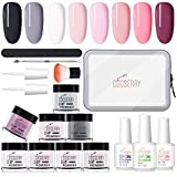 Cooserry Dipping Powder Nail Set - 8 Colors Nail Dip Powder Kit for Starter with Dipping Powder System Includes Base Coat Activator and Top Coat Plus Manicure Tools Kit - Apply with Ease