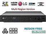 LG BP Region Free Blu-ray Player, Multi Region 110-240 Volts, Dynastar 6 Foot HDMI Bundle