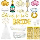 Gold Bachelorette Party Decorations Kit | Bridal Shower Supplies | Bride to Be Banner & Sash, Veil, Tiara, Tattoos, Ring & Latex Balloons + Much More!