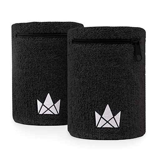 The Friendly Swede Zipper Sweatband with Pocket Wristband Ankle Wallet (2 Pack) (Black, Large)