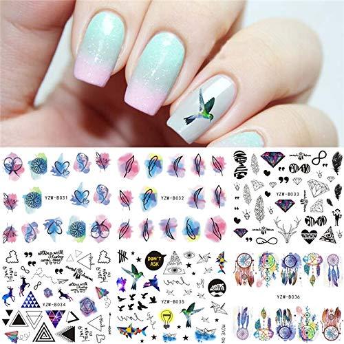 Jimin_6 Sheets Water Decal Nail Art Transfer Sticker Feather Bird Diamond etc Designs 2019 Xmas elk Nail Stickers