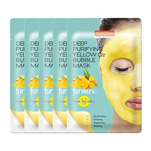 PUREDERM Deep Purifying Yellow O2 Bubble Mask 0.88oz x 5ea / Korean beauty/Bubble mask/Cleansing foam/Cleanser/Purifying mask/Turmeric/Clarifying/Brightening/Face toxin