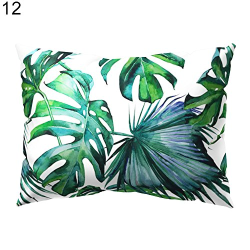 Lsgepavilion 30* 50cm verde tropicale foglie federa rettangolare cuscino divano casa decorazione,...
