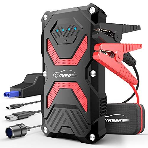 YABER Avviatore Batteria per Moto/Auto, 1000A 13800mAh Avviatore Emergenza per Auto (Fino a 6,0L a Benzina o Diesel da 5,0L) 12V Jump Starter Impermeabile IP67 Power Bank, Torcia LED