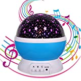 Music Gifts for Kids,Lullaby Night Light,Music Star Projector, Sleeping Soothing White Noise Sound Machine,12 Songs,Kids Gifts for 1 2 3 4 5 Years Old,Baby Gift for 3-6 Month (Music Star Projector)