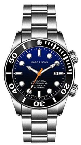 MARC & SONS - Orologio subacqueo automatico, 1000 m, vetro zaffiro, valvola dell'elio, lunetta in...
