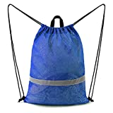 BeeGreen Blue Mesh Bag Drawstring Backpack Reflective Sports String Bag with Zipper Pocket 17.4'W x 23'L Sports Gym Bag Washable Foldable for Child Beach Swimming Gear Travel Climbing Hiking Soccer Kickboard