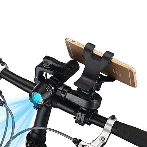 Bike Phone Mount, Mostfeel 2 in 1 Bicycle Phone Holder 360° Rotation Universal Motorcycle Handlebar Phone & Flashlight Mount Holder for iPhone, Samsung, Galaxy, LG, HTC, Nexus 5x, GPS Device, Black