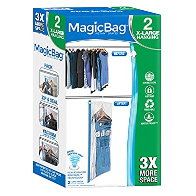 [MAGICBAG] Double zipper design keeps items safe w/ a waterproof seal. Lab tested to stay airtight. [PATENTED] Space saving material that squeezes air out to seal against dirt, odor, insects & mildew. [SMART DESIGN QUALITY] All Smart Design products ...