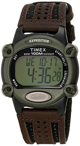 Timex Men's T48042 Expedition Full-Size Digital CAT Brown Nylon/Leather Strap Watch