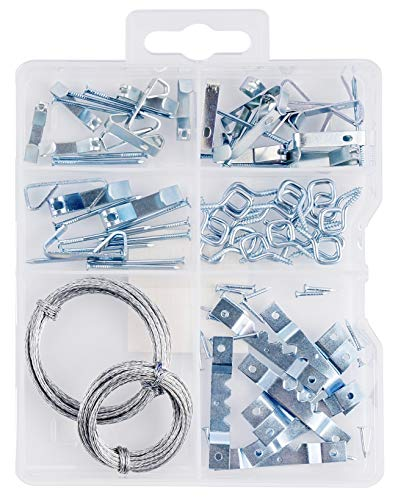 Picture Hanging Kit with Hooks, Nails, Sawtooth Hangers, Screw Eyes, and Wire