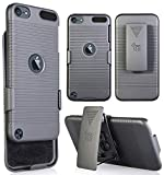 Nakedcellphone iPod Touch 7/6/5 Case with Clip, Black Ribbed Hard Cover and Belt Hip Holster Holder Combo with Stand for Apple iPod Touch 7th 6th 5th Generation