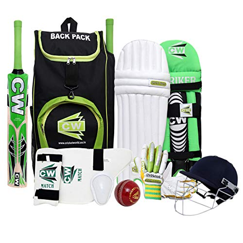 CW Bullet Kashmir Willow Cricket Batting Kit Set Right Handed Sports Training Complete Batting Kit Size 6 for 12-13 Years Old with Bat Backpack Bag Leather Ball Batting Gloves