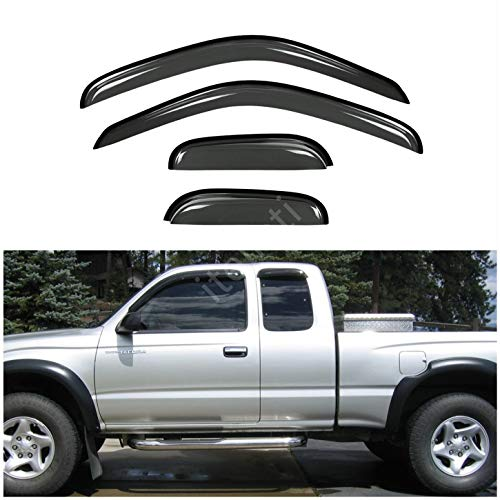itelleti 4pcs Outside Mount Dark Smoke Sun/Rain Guard Front+Rear Tape-On Auto Window Visors For 95-04 Toyota Tacoma Access/Extended Cab With Half Size Rear Doors