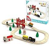 Circuit Train Enfant,Train en Bois (magnétique)& Rails Pack(39 pcs),Compatible...