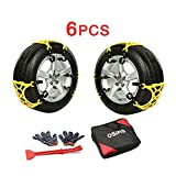 OSIAS Car Snow Chains(6PCS) - Premium Quality Strong Durable All Season Anti-Skid Car, SUV, and Pick Up Patterned Tire Chains for Emergencies and Road Trip
