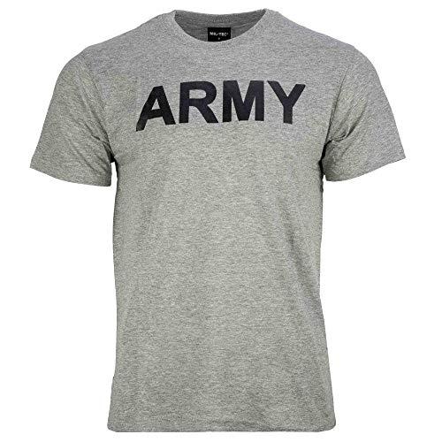 Camiseta gris china cuello redondo y mangas cortas, diseño de Army negro Miltec 11063008 Airsoft Armade, talla M