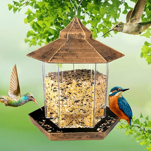 Bird Feeders , Hanging Bird Feeder with Ideal Hexagon Shaped for Courtyard, Garden, Patio, Backyard and Front Porch Decoration