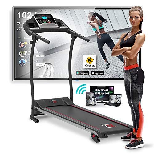 YM Tapis Roulant Elettrico Pieghevole 11 km/h, App KINOMAP & ZWIFT Coaching/Video, Sensore Cardio,...
