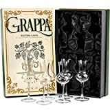 Crystal Grappa and Cordial Glasses | Set of 6 | Small 3 oz Long Stemmed Spirit Glassware for Liqueur, After Dinner Drink, Aperitif, Digestive | Italian Tulip Shaped Liquor Stemware for Nosing, Sipping