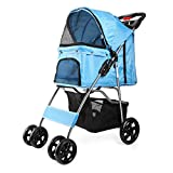 Flexzion Pet Stroller (Blue) Dog Cat Small Animals Carrier Cage 4 Wheels Folding Flexible Easy to Carry for Jogger Jogging Walking Travel Up to 30 Pounds with Sun Shade Cup Holder Mesh Window