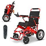 2020 Model Fold & Travel Lightweight Electric Wheelchair Motor Motorized Wheelchairs Electric Silla De Ruedas Power Wheelchair Power Scooter Aviation Travel Safe Heavy Duty Mobility Aids (Red)